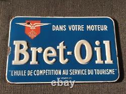 Très Belle plaque émail BRET-OIL Moteur l'huile de compétition