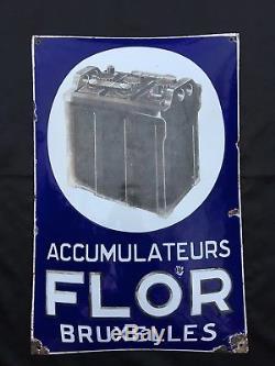 Très RARE Plaque Emaillée Bombée Accumulateurs FLOR Bruxelles 1926 Bidon d'huile