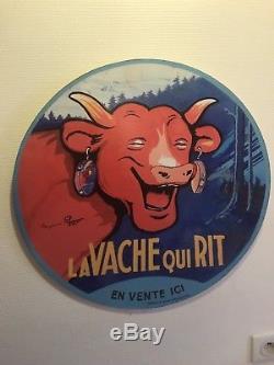 Tres Rare La Vache Qui Rit Signe Benjamin Rabier Grande Plaque En Bois 55 CM