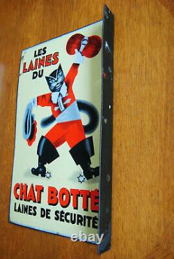Tres Rare Plaque Emaillee Ancienne Eas Double Face Chat Botte