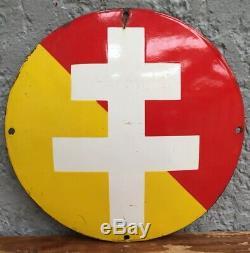 Tres Rare Plaque Emaillee Bombée Emaillerie Alsacienne Hoenheim Croix Lorraine