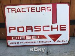 Tres Rare Plaque Emaillee Tracteur Porsche Diesel