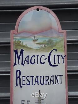 Tres Rare Thermometre Emaillee Magic City Le Bottin Mondain