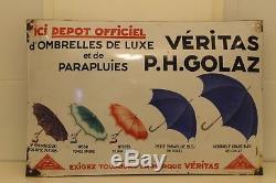 Très belle plaque émaillée bombée parapluie veritas golaz eas strasbourg
