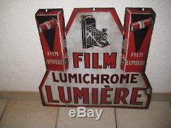 Très belle plaque émaillée double face film lumichrome lumière