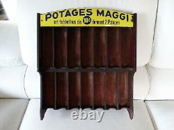 Très rare présentoire avec sa plaque émaillée Maggi 1920's