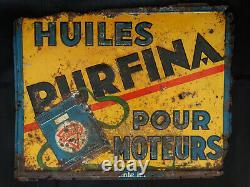 Très rare tôle Huile Purfina 1920-1930