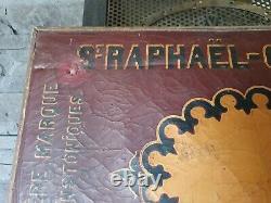 Ultra rare ancien tableau cuir Saint-Raphaël Quinquina bistrot publicitaire 1900