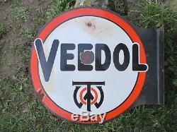 Veedol plaque emaillée double face avec vos bidon d'huile objet garage