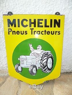 Véritable Plaque émaillée MICHELIN Pneus pour tracteur 62 cm x 48cm