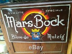 Vieille plaque émaillée Biere Mars bock de Mutzig