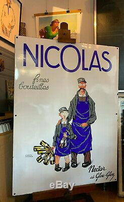 Vins Nicolas Nectar Et Glou Glou Grande Plaque Emaillee Publicitaire