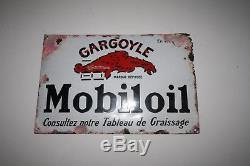Vintage Garage Plaque Email Mobiloil Gargouyle Bombé Relief