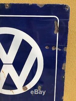 XXL 148x123 cm Plaque émaille Volkswagen Service 1960 Auto Service Garage Ancien
