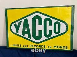 YACCO Plaque émaillée publicitaire de garage, Vitracier Neuhaus, TOP ÉTAT