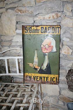 Émaillée ancienne PLAQUE cf badoit 1920/1930 TOLE PEINTE