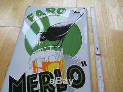 == plaque emaillee FARO MERLO = original de 1933 = tres bon etat = tres rare =